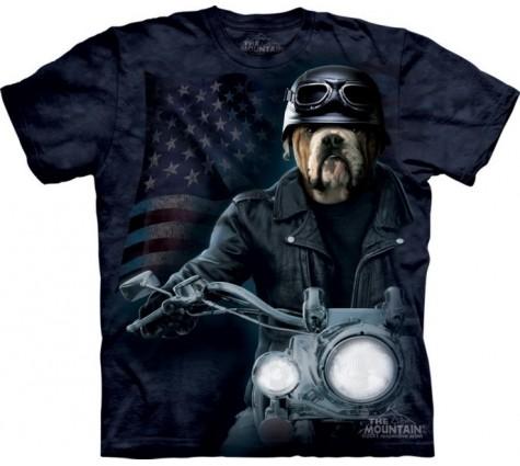 3д футболка бульдог-байкер