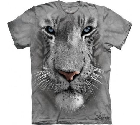 3д футболка морда белого тигра