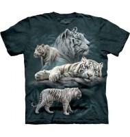 3д футболка с белыми тиграми