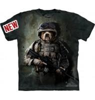3д футболка бульдог солдат