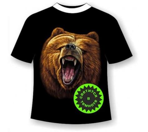 Футболка батал Медведь светящаяся в темноте