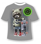 Детская футболка Енот в капюшоне 969 (В)