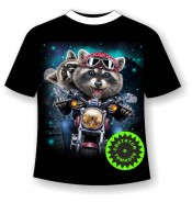 Детская футболка Еноты на мотоцикле 1068