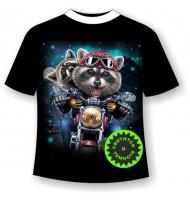 Детская футболка Еноты на мотоцикле