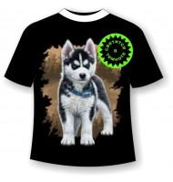 Детская футболка Хаски щенок