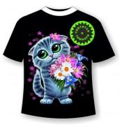 Детская футболка Котенок с цветами 1141