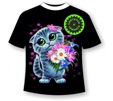 Детская футболка Котенок с цветами