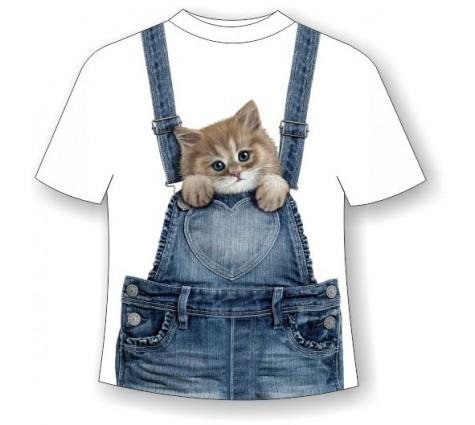 Детская футболка Котенок в кармашке