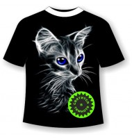Детская футболка с котенком светящаяся в темноте 761