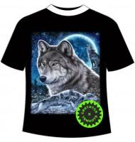 Детская футболка Волк с луной светящаяся в темноте