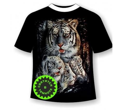 Футболка белые тигры светящаяся в темноте