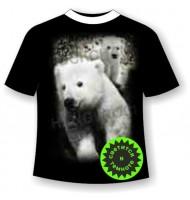 Футболка Белый медведь светящаяся в темноте