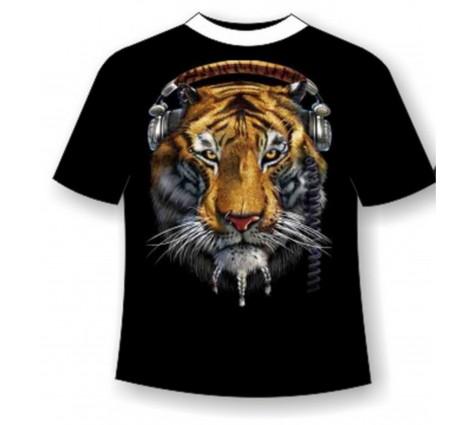 Футболка тигр в наушниках TDA 185