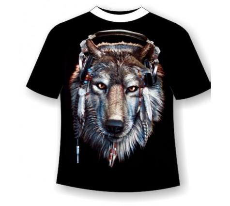 Футболка волк в наушниках TDA 186