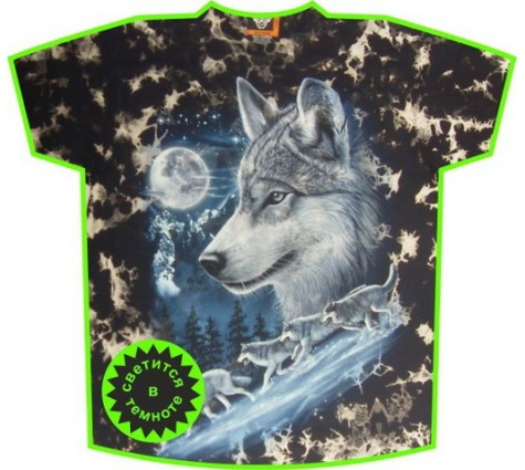 Футболка волки GTD светящиеся в темноте