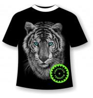 Футболка больших размеров Тигр черно-белый 1087