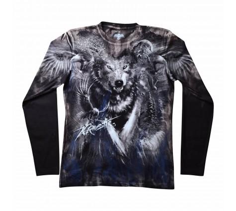 Мужская футболка с длинным рукавом Волк