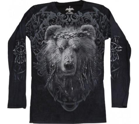 Мужская футболка с длинным рукавом Медведь мудрый