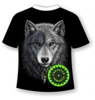 Футболка Волк Инь-Янь светящаяся в темноте