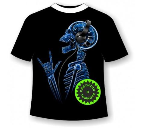 Футболка Скелет в наушниках светящаяся в темноте