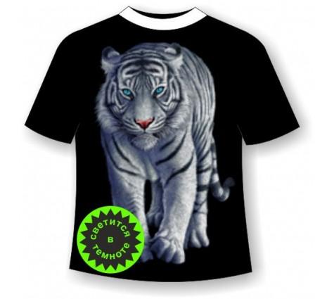 Футболка Белый тигр HD светящаяся в темноте