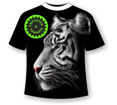 Футболка Белый тигр WRM светящаяся в темноте