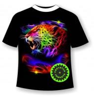 Футболка Леопард светящаяся в темноте
