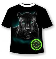 Футболка Пантера на отдыхе светящаяся в темноте