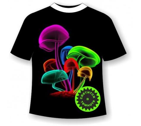 Футболка с грибами светящаяся в темноте