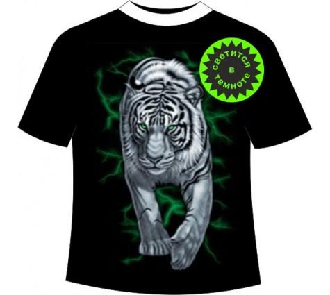 Футболка Тигр на охоте светящаяся в темноте