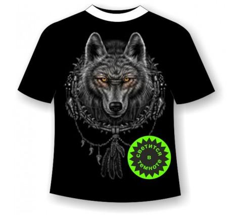 Футболка Волк ловец снов светящаяся в темноте