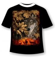 Футболка Волк в листве №689