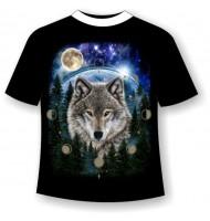 Футболка Волк и фазы луны светящаяся в темноте