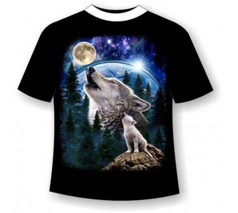 Футболка Волк и волчонок светящаяся в темноте