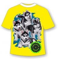 Подростковая футболка Стая хаски