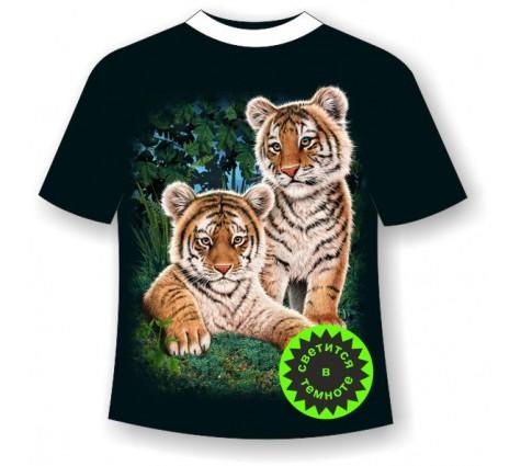 Подростковая футболка Тигрята сафари светящаяся в темноте