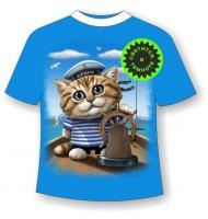 Подростковая футболка Кот морячок