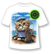 Детская футболка Кот морячок 954 (В)