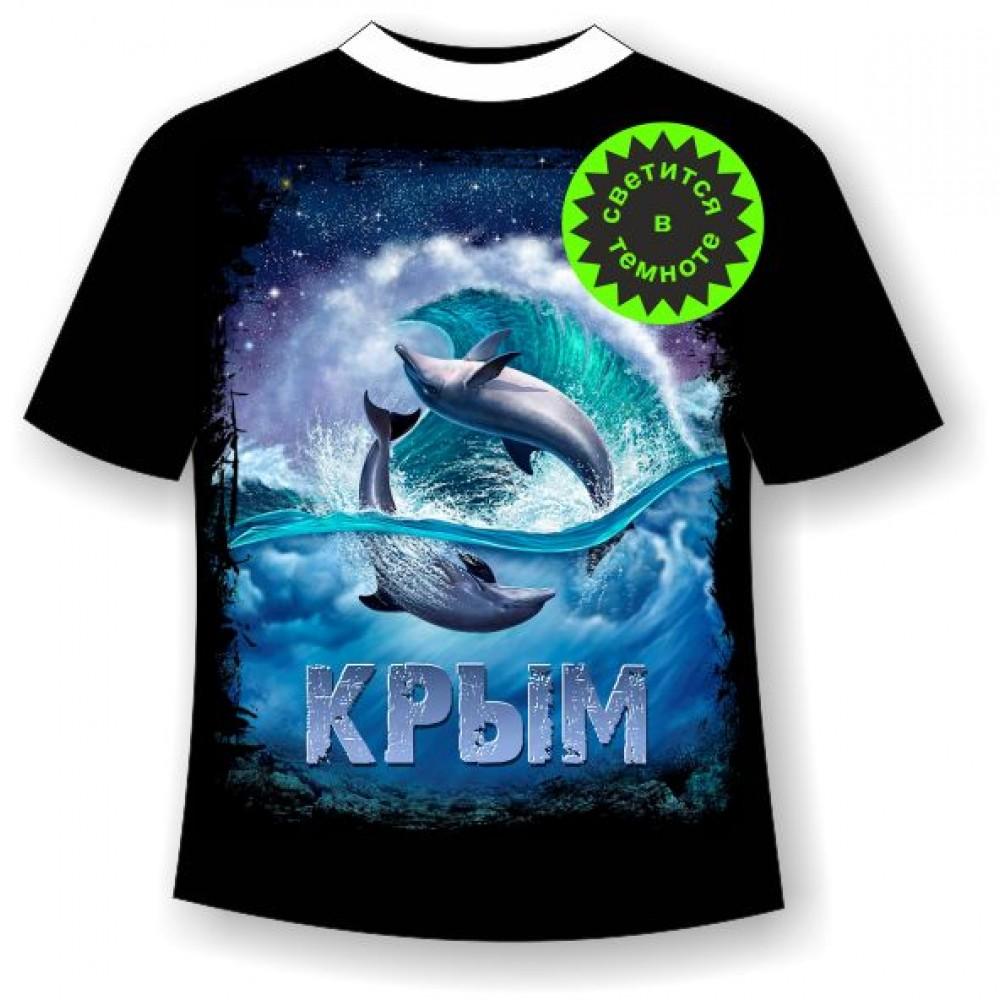 Подростковая футболка Дельфины ночью 967