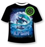 Подростковая футболка Дельфины ночью