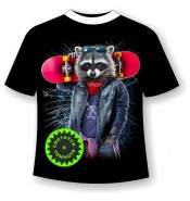 Подростковая футболка Енот со скейтом