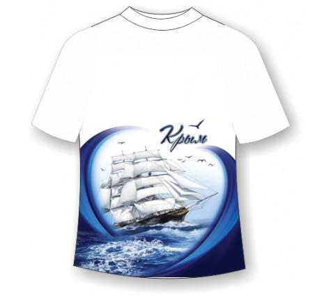 Подростковая футболка Корабль в море