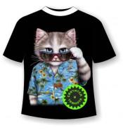 Подростковая футболка Кот Алоха 955