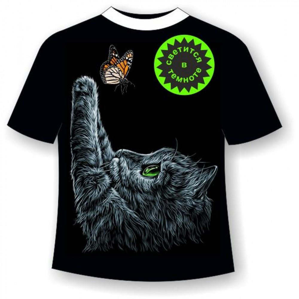 Подростковая футболка Котенок с бабочкой купить в интернет ...