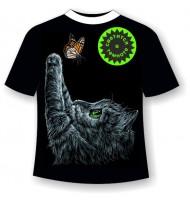 Подростковая футболка Котенок с бабочкой