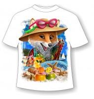 Подростковая футболка Лиса на пляже