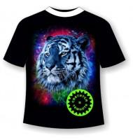 Подростковая футболка Тигр радуга