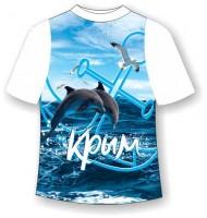 Подростковая футболка Якорь с дельфинами 333