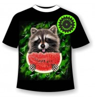 Подростковая футболка Енот с арбузом