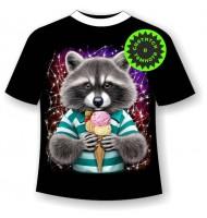 Подростковая футболка Енот с мороженным